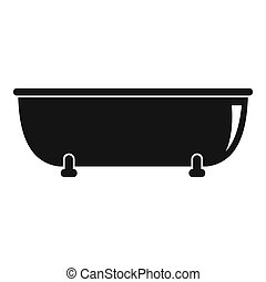 Old bathtube icon, simple style