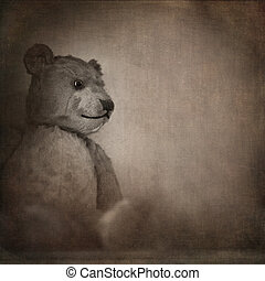 Old bear - Nostalgic image of an old, well loved bear. Sepia...