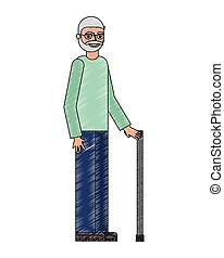 old bearded man and glasses with cane