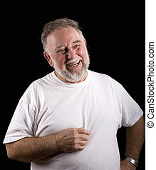 Old Bearded Man Laughing
