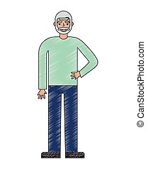old bearded man standing character