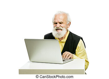 Old bearded man with laptop isolated