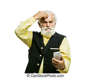 Old bearded man with mobile phone isolated