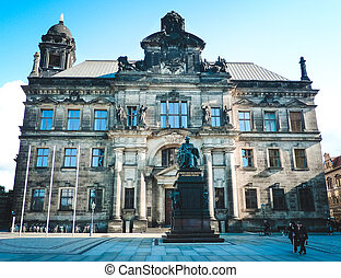 Old beautiful building of Land Court in Dresden
