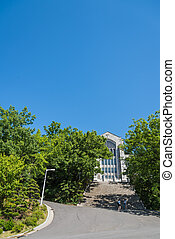 Old beautiful church with stone stair and blue sky 3