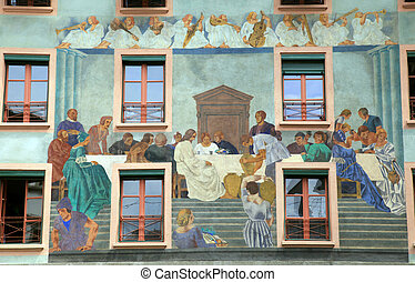 Old beautiful fresco on medieval building in Lucern, ...