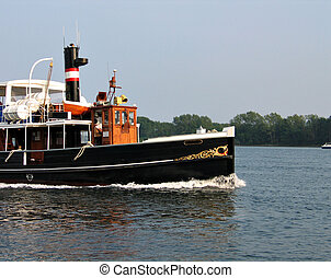 Old beautiful steam boat - Old decorated beautiful steam...