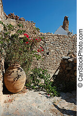 Old beautiful yard at Monemvasia town, Greece