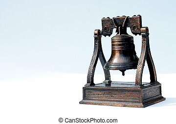 old bell - antique bell on white background, bronze texture