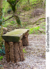 old bench of logs