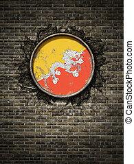 Old Bhutan flag in brick wall