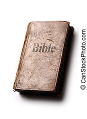 Old Bible book on white background