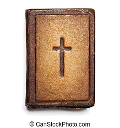 Old Bible Cover, Vintage Leather Front Book Texture with Cross, Isolated over White
