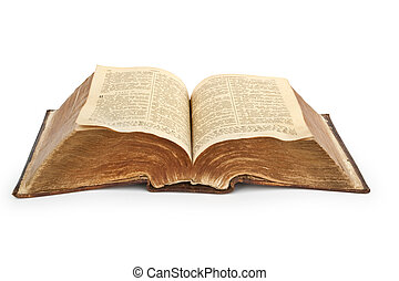 old Bible of 19 centuries - Bible. Very old open book...