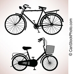 2 old bicycle in silhouette.