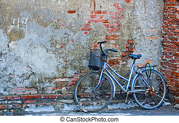 old bicycle - Old bicycle in chinese street in Shanghai