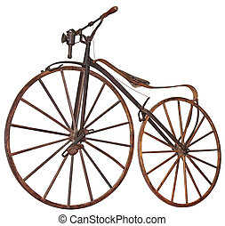 Old bicycle - Old wooden bicycle with pedals used 70 years ...