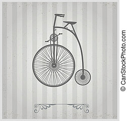 Old bicycle on a gray background