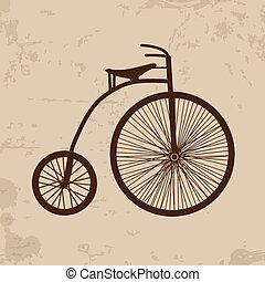 Old bicycle on retro poster - Old bicycle on vintage grunge...