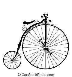 old bicycle template with clean white background