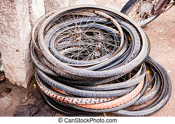 old bicycle tires and wheels
