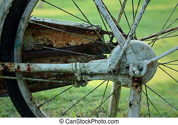Old bicycle wheel on a green background.