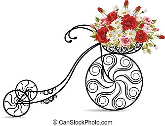Old bicycle with a basket full of flowers