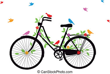 vintage bicycle with birds, leaves and flowers, vector illustration
