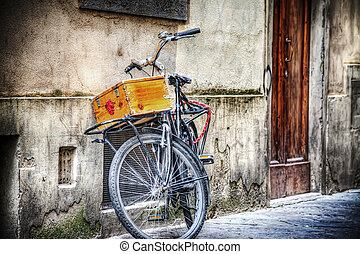 old bicycle with wooden case in hdr