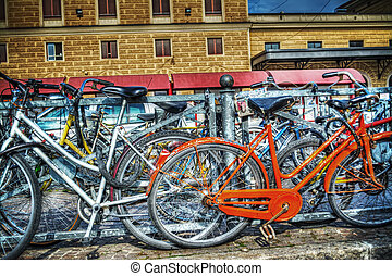 old bicycles in Bologna station