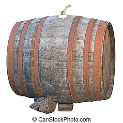 old big barrel on white background