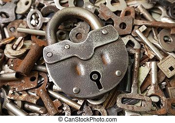 Old big metal padlock