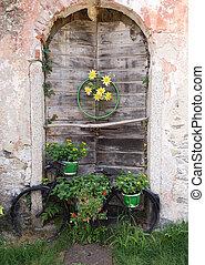 old bike old door