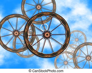 Old bike wheels - Background with old bike wheels over sky .