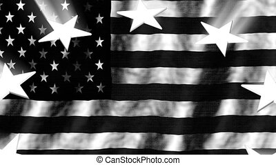 Old black and white retro American flag and stars with light rays loop