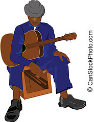 old black blues guitarist sitting on box with guitar in hands