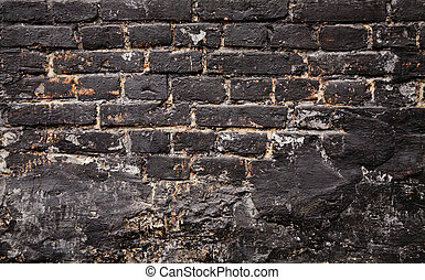 old black brick wall texture as a background