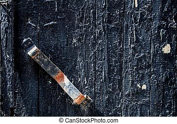 old black door with rusty handle. background, vintage.