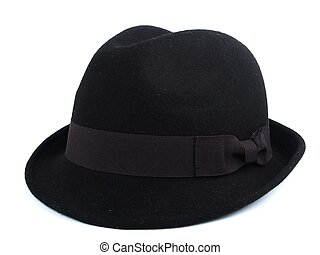 Black hat closeup on white bagground. 3a9d766eff5