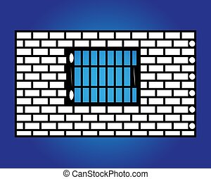 Old black iron window with grids on white brick wall.