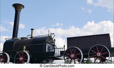 old black locomotive. nostalgic technology background. timelapse