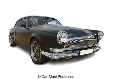 old black luxury car  - old black luxury of car isolated