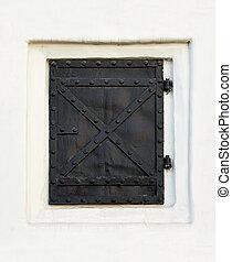 Old black metal door