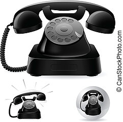 Illustration of old black phone icons against white background, abstract art illustration;