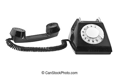 old black phone isolated on white background