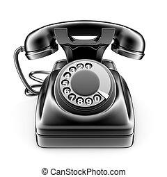 Old black rotary telephone