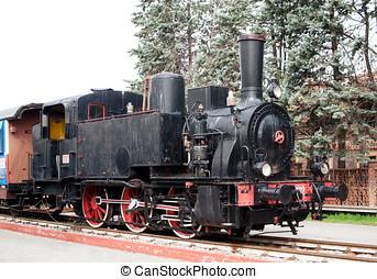 Old black vintage steam locomotive