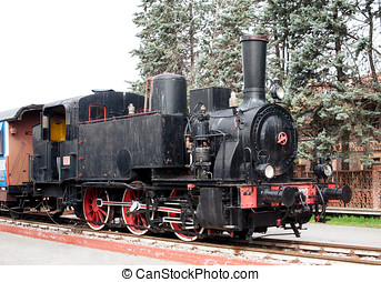 Old black vintage steam locomotive