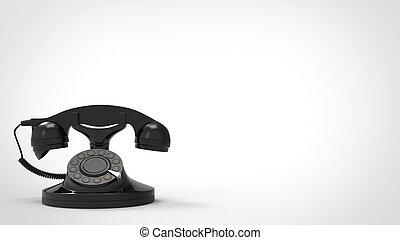 Old black vintage telephone - 3D Illustration
