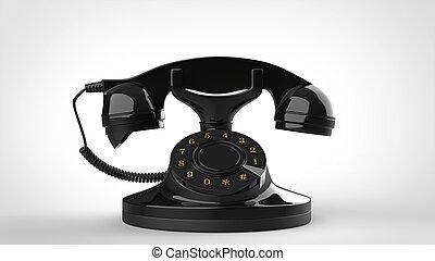 Old black vintage telephone - closeup shot - 3D Illustration